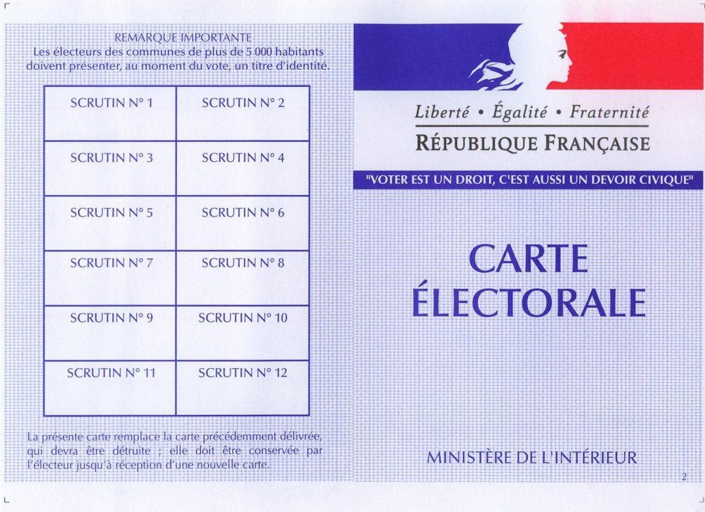 Recto d'une carte électorale française